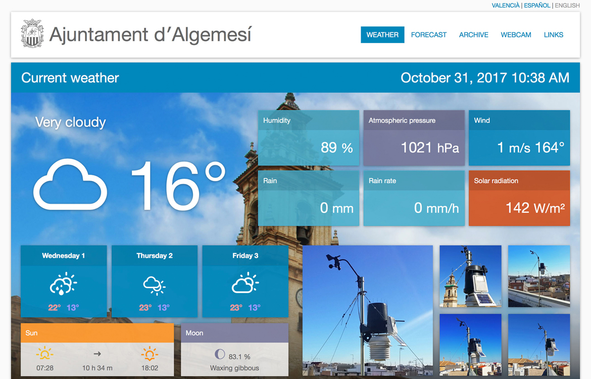 Darrera develops the new weather information website of the Municipality of Algemesí
